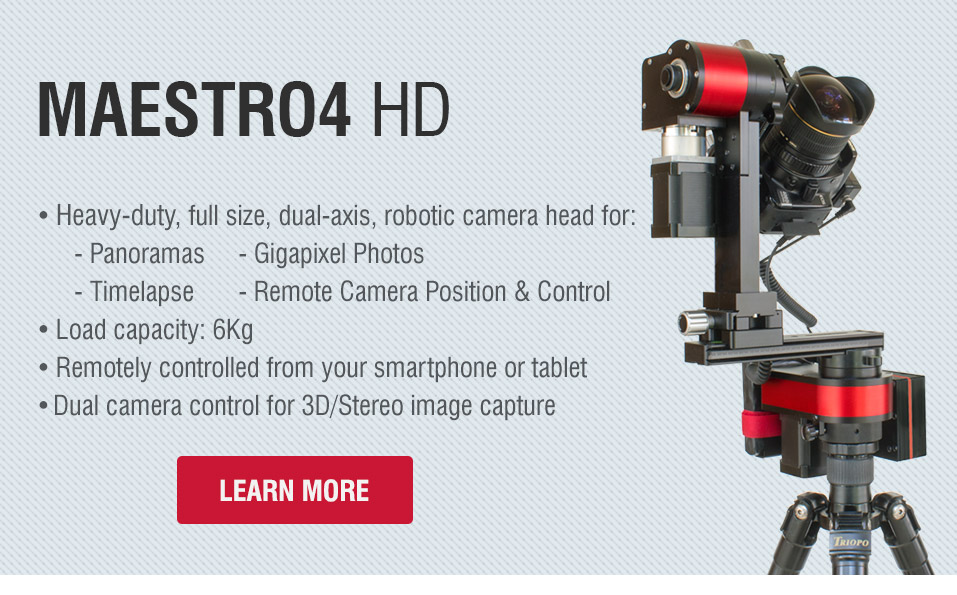 Maestro4 HD - Heavy duty, full size, dual-axis robotic panorama head for 360° panoramas, gigapixel photos and timelapse