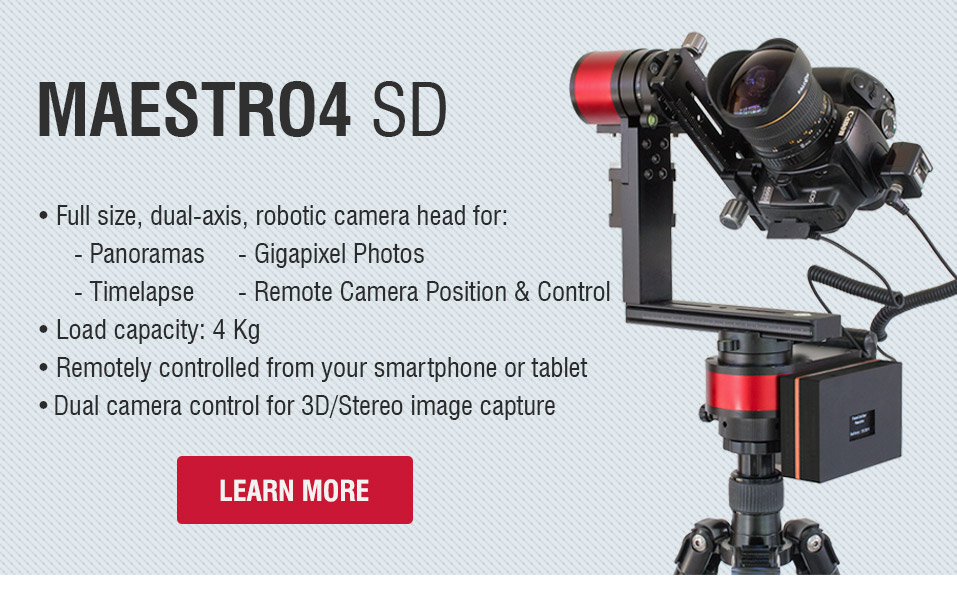 Maestro3 SD dual-axis robotic panorama head for 360° panoramas, gigapixel photos and timelapse