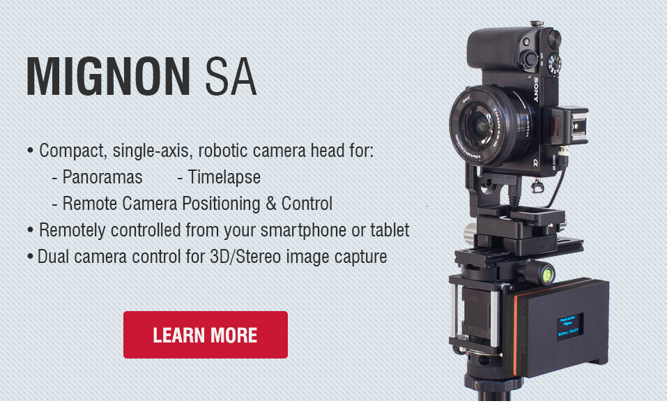 Mignon-SA - Compact, single-axis robotic panorama head for 360° panoramas, gigapixel photos and timelapse