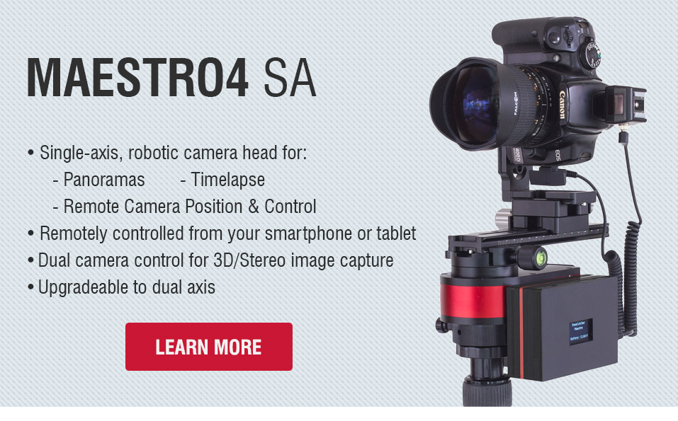 Maestro3 SA - Single-axis robotic panorama head for 360° panoramas, gigapixel photos and timelapse